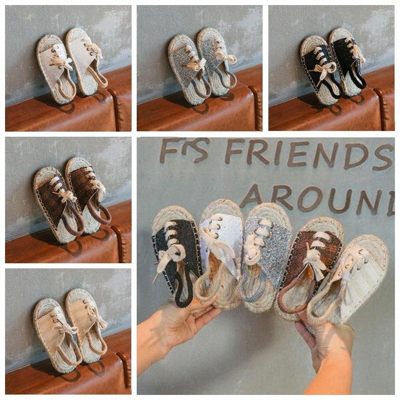 Kids Designer Shoes Girls Straw Shoes Baby Girl Sequins Flat Sandals Retro Casual Beach Shoes Fashion Summer Cool Antiskid Slippers ZY PUnE#