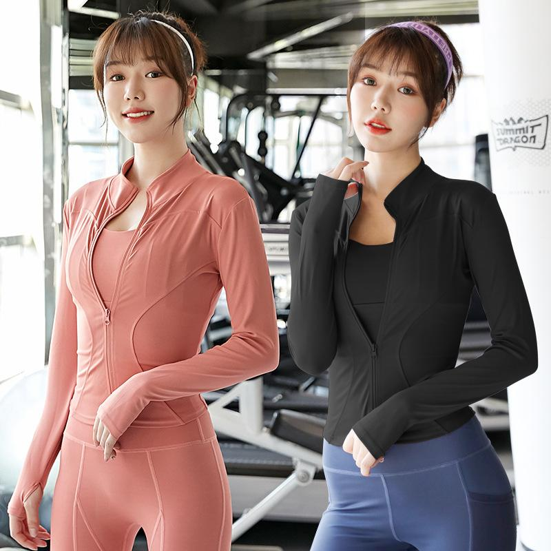 Yoga clothes slimming zipper sports jacket women's long-sleeved tights running fitness tops autumn and winter models