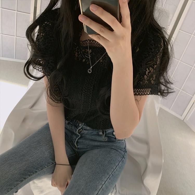 Z0Q7O koreanischer schicker neuer westlicher Stil Allgleiches loses Mikro-Farb Kragen fester Stand dünnes Hemd transparente Hülse kurzes Hemd für Frauen