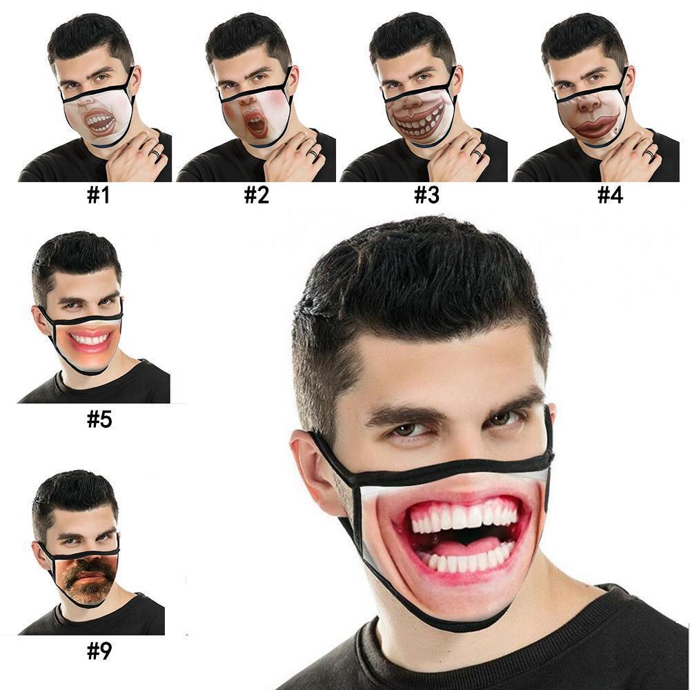 3d divertente maschera umana viso umano 12 stili di stampa di modo di stampa espressione antipolvere maschere di cotone antipolvere lavabile maschera riutilizzabile all'ingrosso