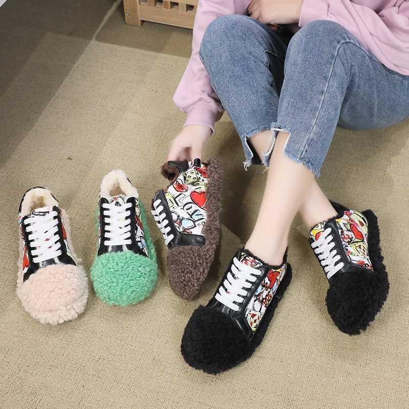 chaussures plates Mocassins femmes gardent des chaussures floues graffiti chaud nouveaux Zapatos paresseux femmes occasionnels d'hiver mujer