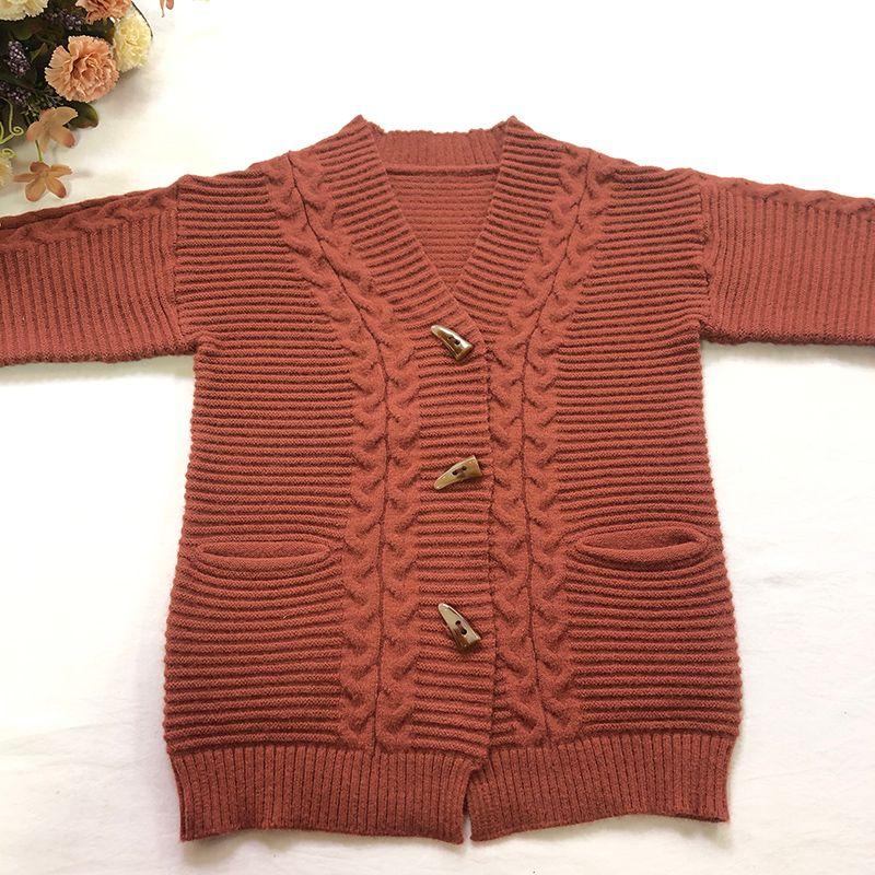 casaco de tricô na cor pura Versátil cardigan para meninas
