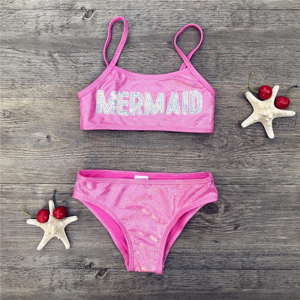 3-8 лет Mermaid Блестки купальник детей девочек бикини 2020 милые дети бикини пляж носить повязку biquini купальный костюм 292