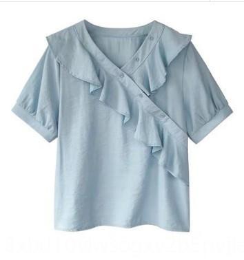 Qlwn8 0VKoC V yaka yeni moda zarif gevşek şifon kadın En gömlek kısa kollu peri üst 2020 Batı tarzı gömlek flounced