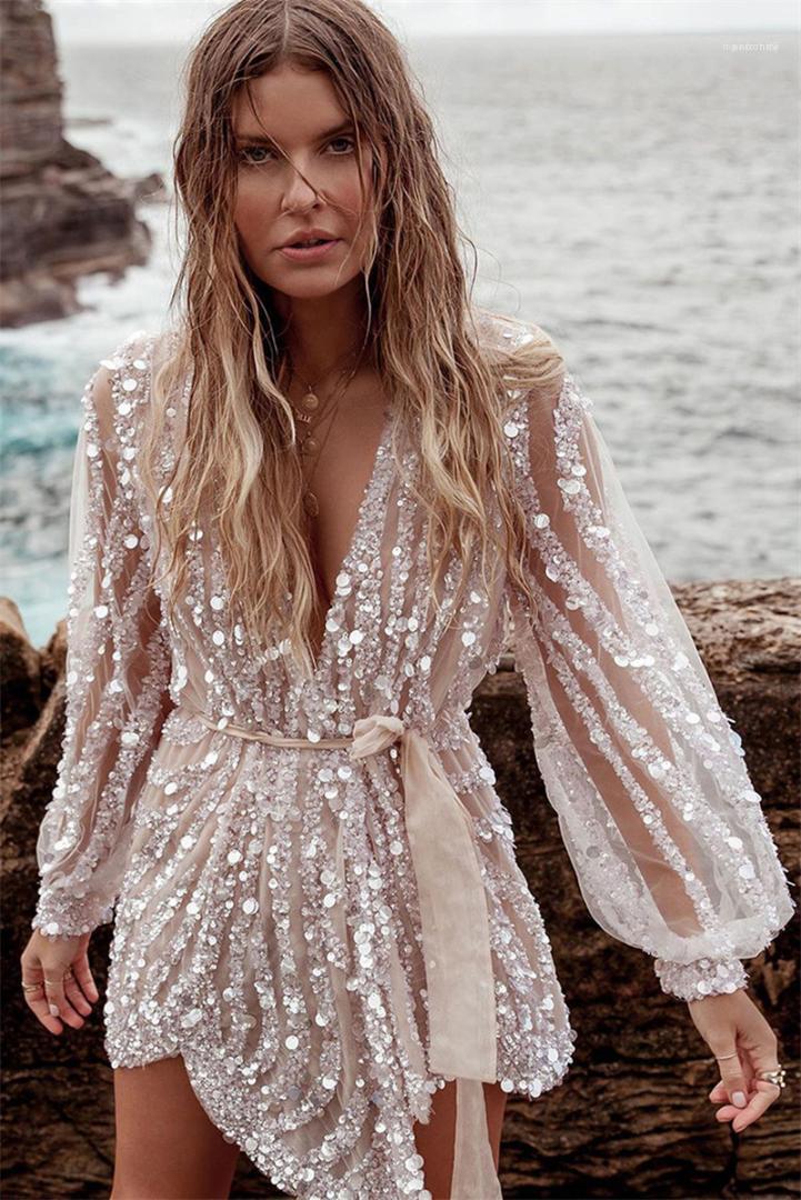 Одежда 2020 женщин конструктора платье с длинным рукавом Sexy Блестки Solid Color V шеи платья женщина способа