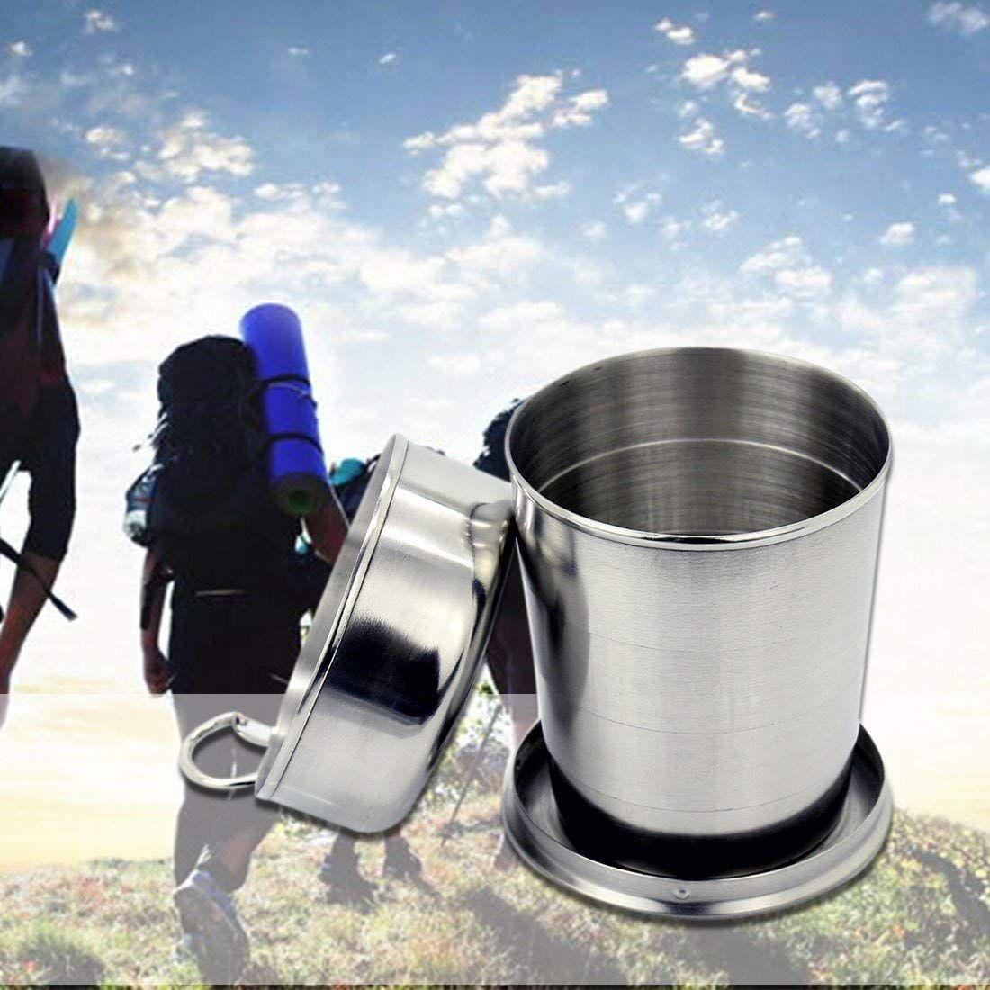 Botella nuevo acero inoxidable plegable que acampa viajar al aire libre que acampa yendo plegable portátil con llave plegable de cristal