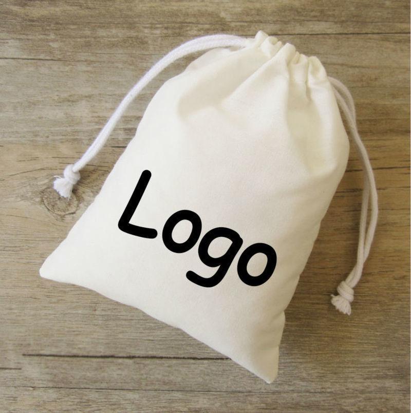 Pamuk Hediye Çanta T / C İpli Kılıfı Packaging Takı Makyaj Parti Hediye Mum Yeniden kullanılabilir Poşet Özel Cep 100Pcs yazdır