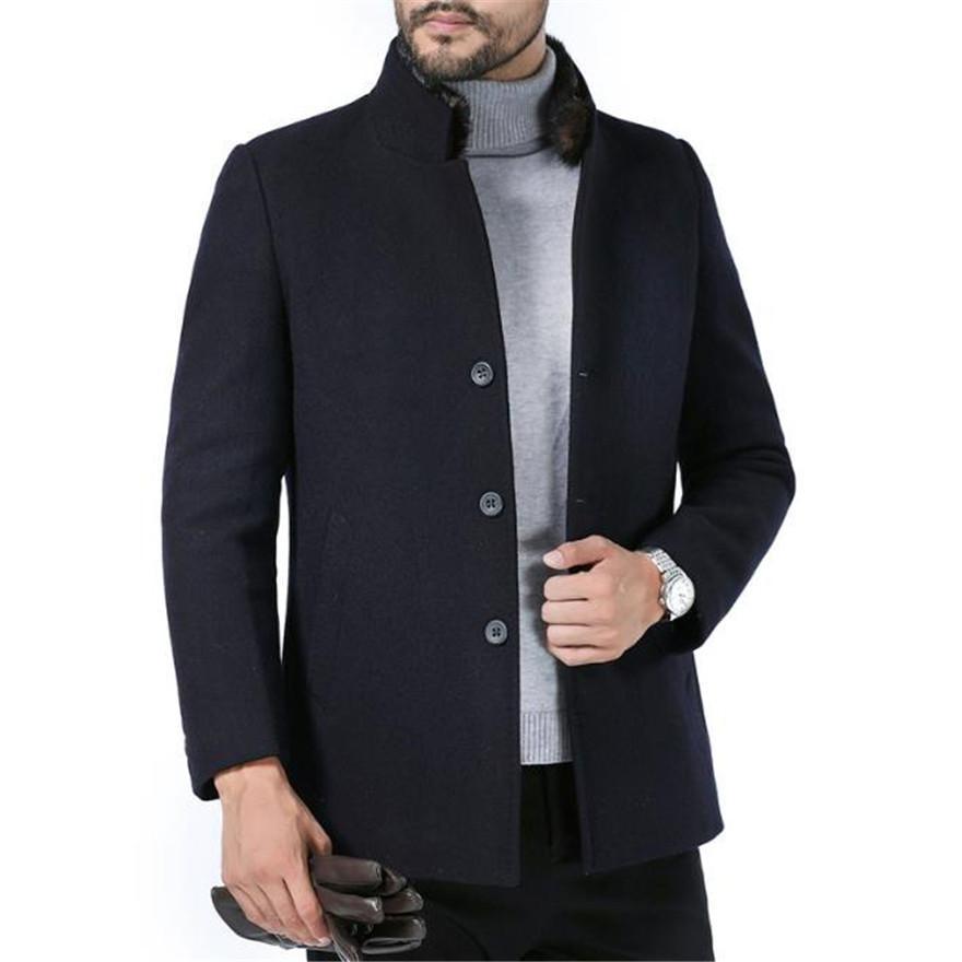 Мужские бленды конструктора Stand Collar с длинным рукавом Тонкий однобортный пальто Повседневная зимняя шерсть Толстая Homme Верхняя одежда