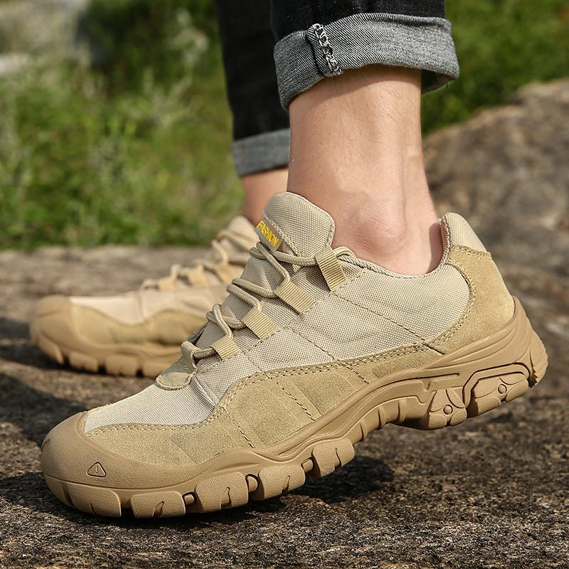 Uomini Outdoor Trekking scarpe impermeabili durevoli Army Tactical Boots Anti-Slip roccia Trekking scarpe traspiranti Formazione Sneakers
