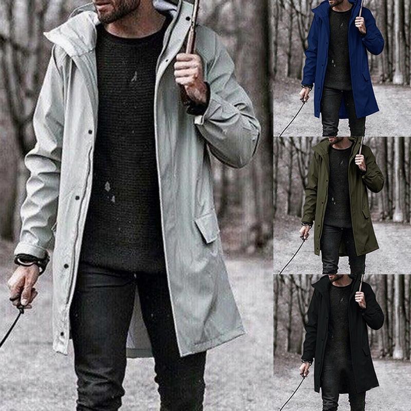 Autumn Winter Trench Men's WindBreaker Coat Fashion Mens Outdoor Long Jacket Casual Outwear Solid Hooded Overcoat 2020 Brand