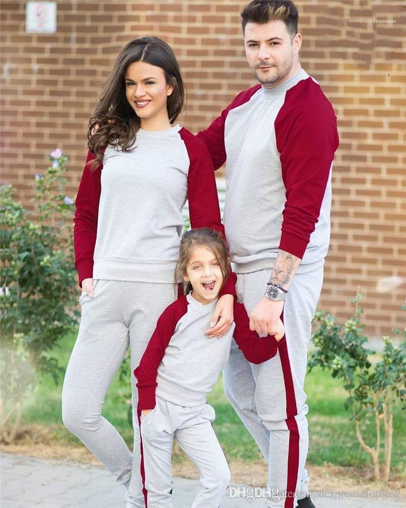 Aile Uzun Kollu O Boyun Çiftler 2PCS Setleri Sonbahar Çizgili Baskılı Spor eşofman Lüks Tasarımcı Erkek eşofman Artı boyutu