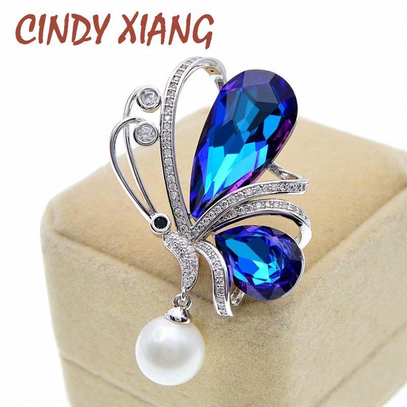 CINDY XIANG Синего Omber Цвет Кристалл Сияющий бабочка брошь для женщин Красивого Циркона насекомых Pin 2 цвета Avaibale КВМ #