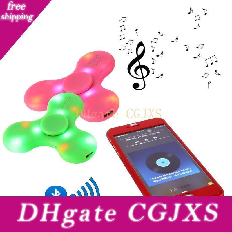 Mini Bluetooth Música Fidget Spinner Led Light Sensorial Fidgets autismo Adhd Edc Spinners Mão Anti Estresse engraçado Brinquedos 4 cores