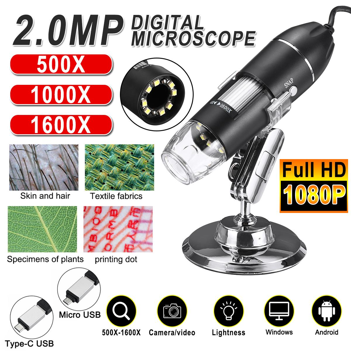 Microscopio digitale a LED regolabile da 1600x da 2MP 1080p 8 Type-C / micro USB Magnifier Electronic Stereo Stereo Endoscope per PC PC