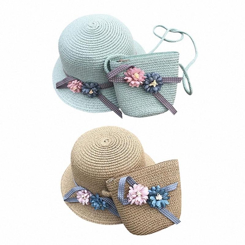 2 ensemble chapeaux de paille Filles Enfants chapeaux de soleil d'été Plage paille tressée Pocket - Marron clair Vert 6opC #