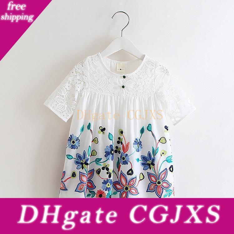 Vieeoease Mädchen Blumenkinderkleidung 2018 Sommer-Mode mit kurzen Hülsen-Druck-Spitze-Prinzessin-Partei-Kleid Ee -350