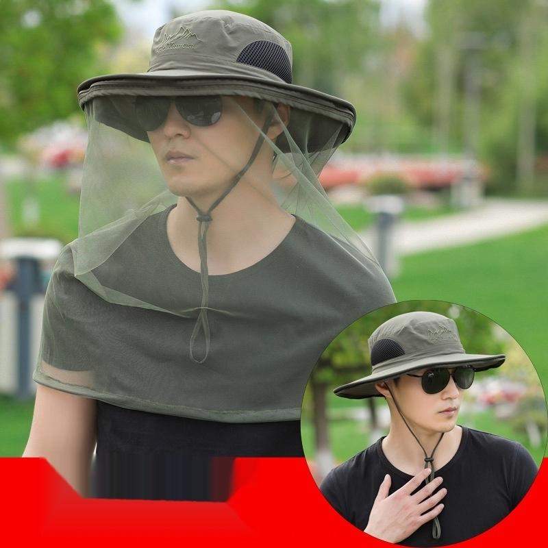 dos homens mVVMZ externas sol de verão destacável malha grande balde borda pescador balde Mosquito pescador net chapéu mosquito chapéu de pesca das mulheres