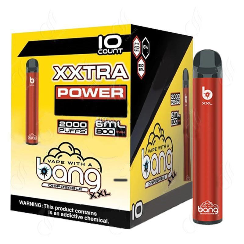 Bang XXL XXTRA 2000Puffs monouso Vape Pen Device 800mAh Alimentazione Batteria preriempita 6ml Pods cartuccia eCigs portatile vaporizzatore botto xl