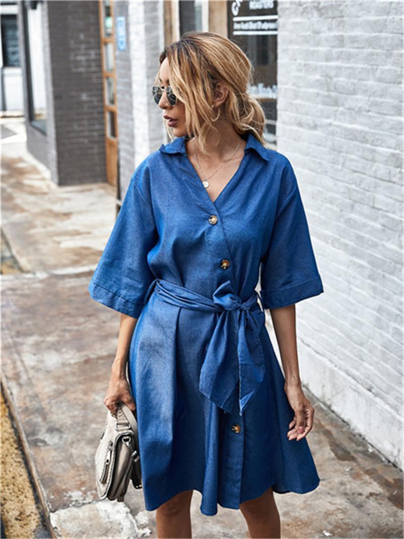 Женщины дизайнерские джинсовые платья новое кружево женщин вверх платья сплошной цвет v осень шеи случайные vitlj