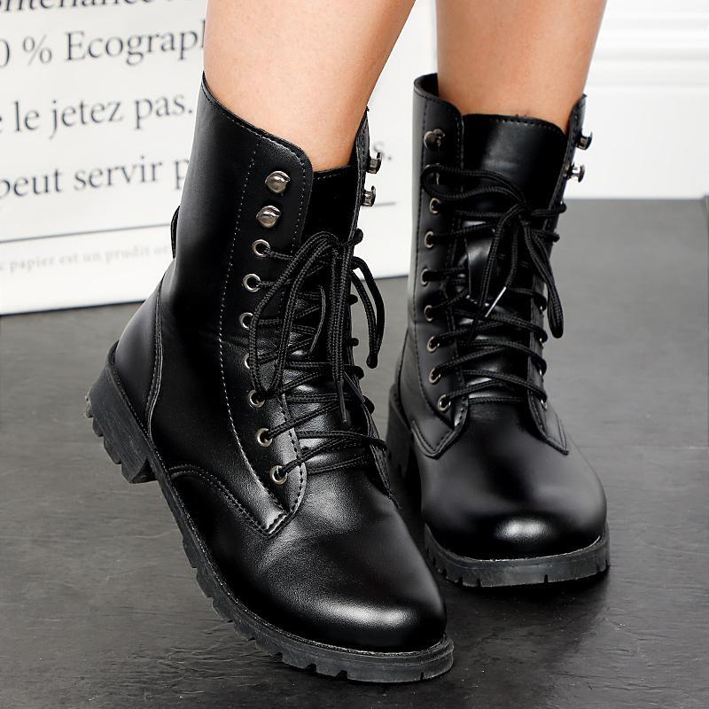 Женская обувь Середина теленок сапоги Блочные каблуки дамы PU кожа Узелок Прохладный мотоциклов Boots Удобная Женщина Осень обувь 2020