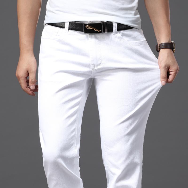 봄과 여름 남성 얇은 흰색 청바지 패션 캐주얼 클래식 스타일 슬림핏 소프트 바지 남성 브랜드 고급 스트레치 바지 남성 청바지