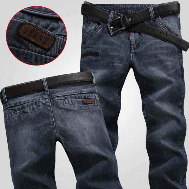 Primavera Vintage jeans macho escuras elástica calças cinza magro magro casuais