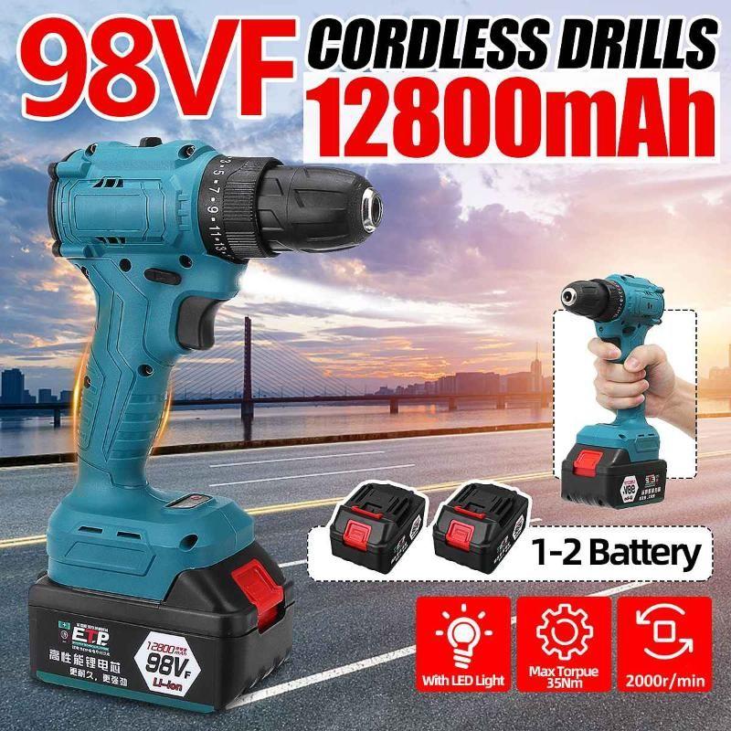 98VF 2000r / min sin escobillas destornillador eléctrico de la batería de litio de luz LED inalámbricos taladro eléctrico Herramientas para trabajar la madera de par 35N.M