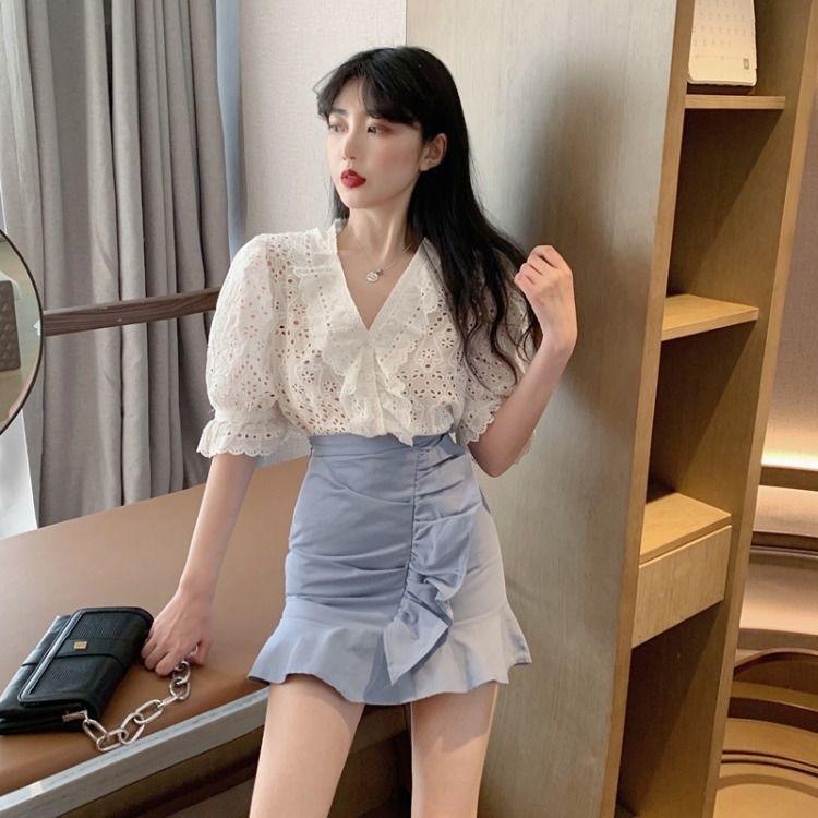 uNEwo coreano manga projeto V-neck terno das mulheres com babados + Saia de cintura alta Side Camisa all-jogo saia bolha