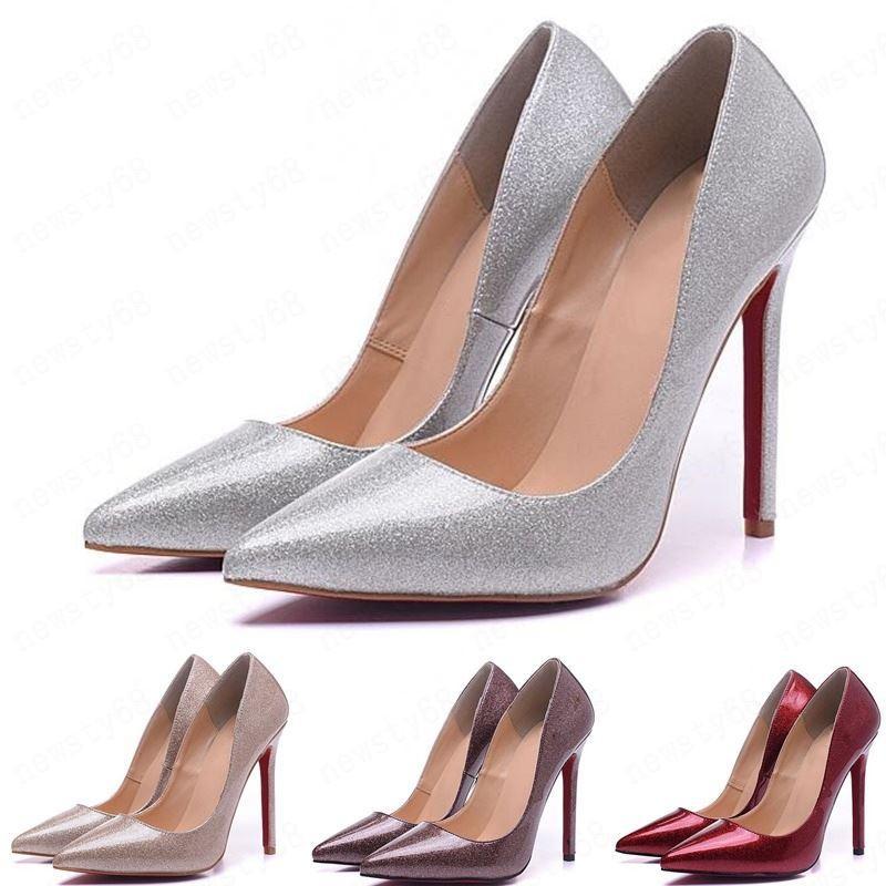 2020 Yani Kate Stiller 8 ile 10 cm 12cm Yüksek Topuklar Ayakkabı Kırmızı Alt Nü Renk Gerçek Deri Noktası Burun Kauçuk SIZE 35-45 pompaları
