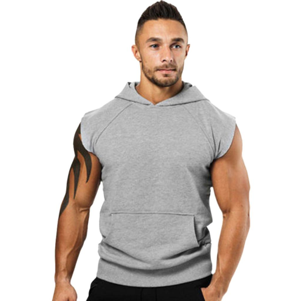 Fashionable Men's Hooded Vest Jackets Summer Bodybuilding Gyms Lightweight Sleeveless Contrast Hoodie Tank Tops Male Clothing MX200815