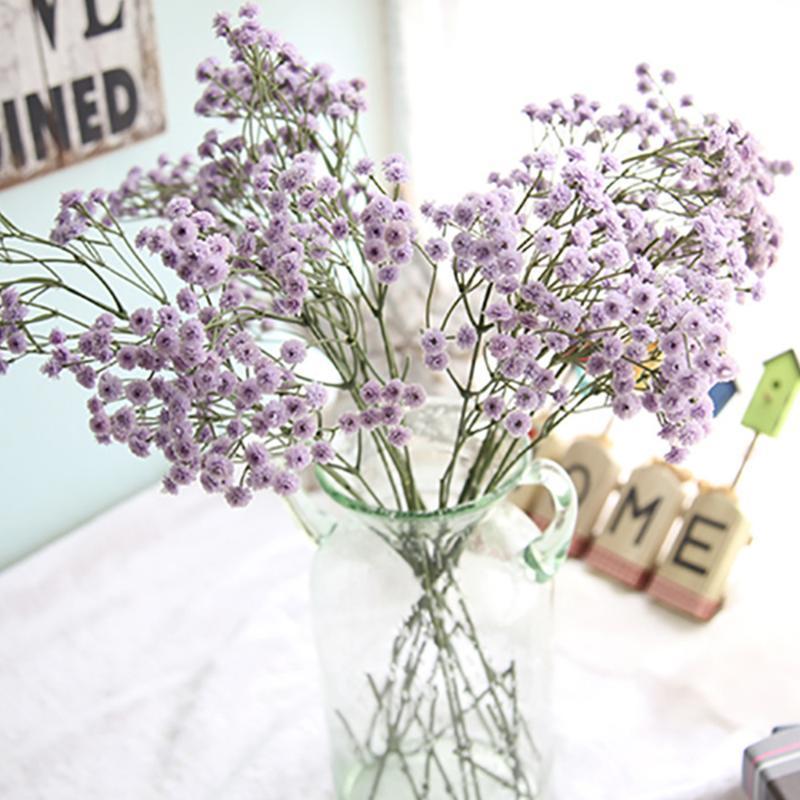 Aliento flor Gypsophila planta falsa de silicona de 1pc bebé artificial DIY ramo floral para la boda Home Hotel decoración del partido