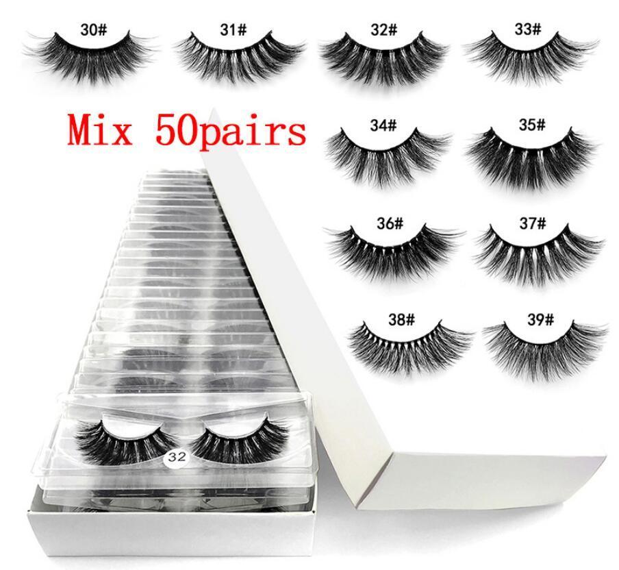 Vente en gros 50 paires 6D Mink cils naturels Faux cils longs Set en faux cils en vrac cils gros maquillage