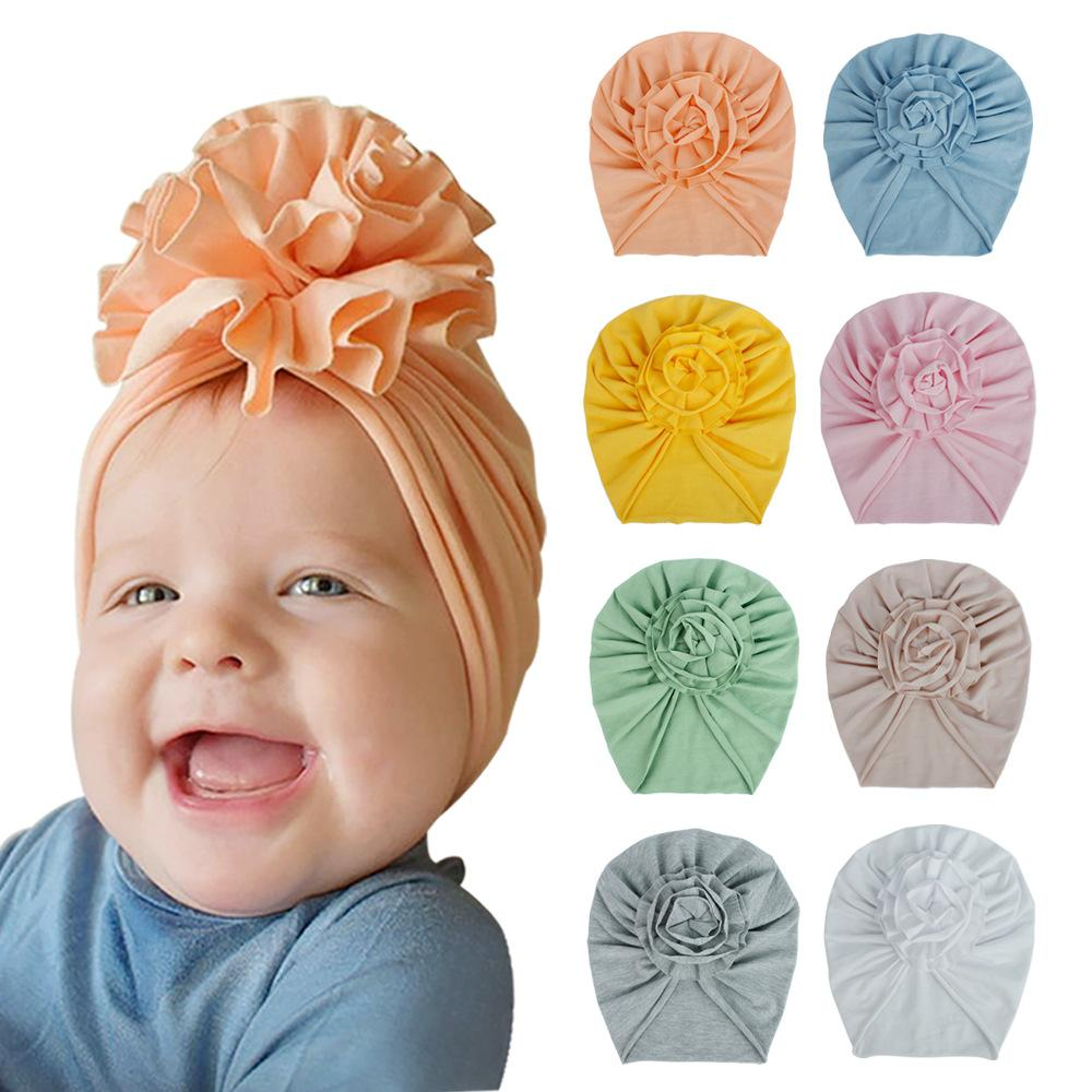 INS 20 Colors New Fashion Pleated Stereo Flower Baby Cap Elastic Cotton Solid Colors Hair accessories Beanie Cap Infant Turban Hats