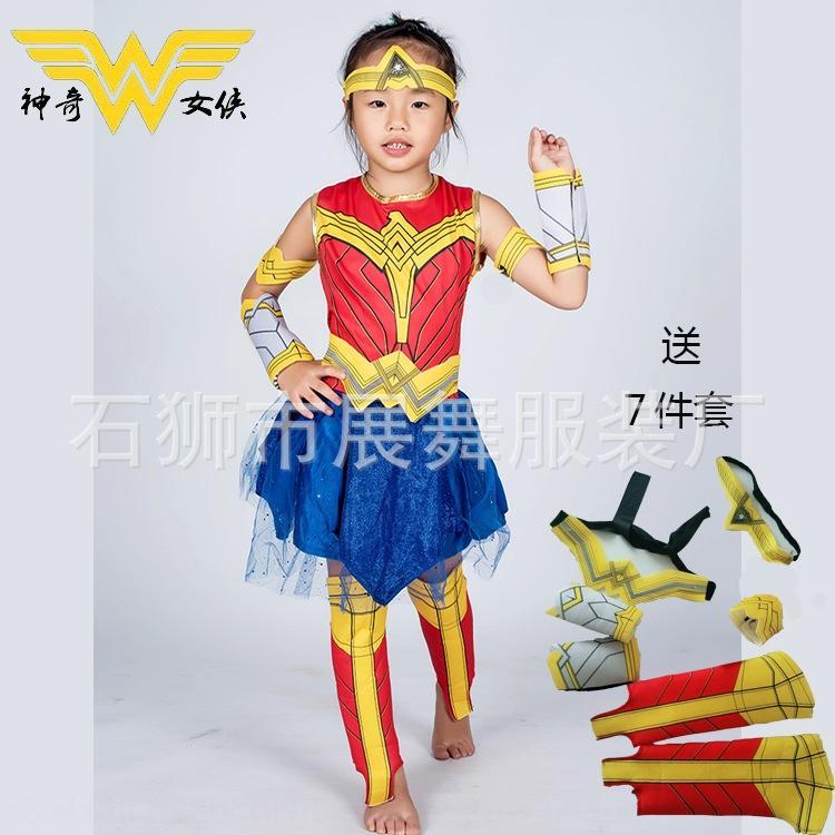 WqW21 Halloween cosplaywear girls children's woman clothing Halloween costume girls costume suit cosplaywear wonder woman children's wonder s