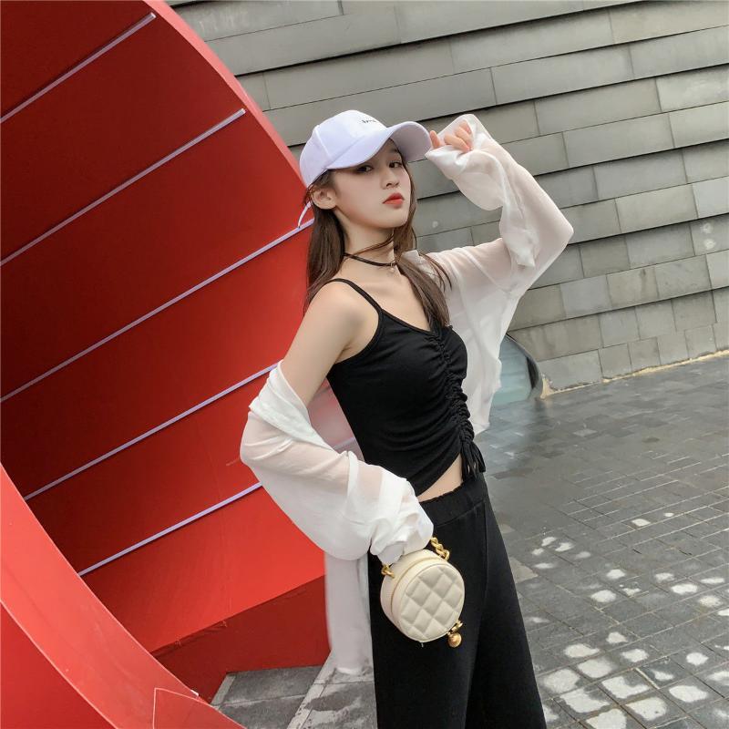 2020 Nueva caliente Venta de Verano camisa sin mangas sólido y el atardecer suelta pierna ancha pantalones altura del tobillo de las mujeres de cintura alta con estilo H150 Traje