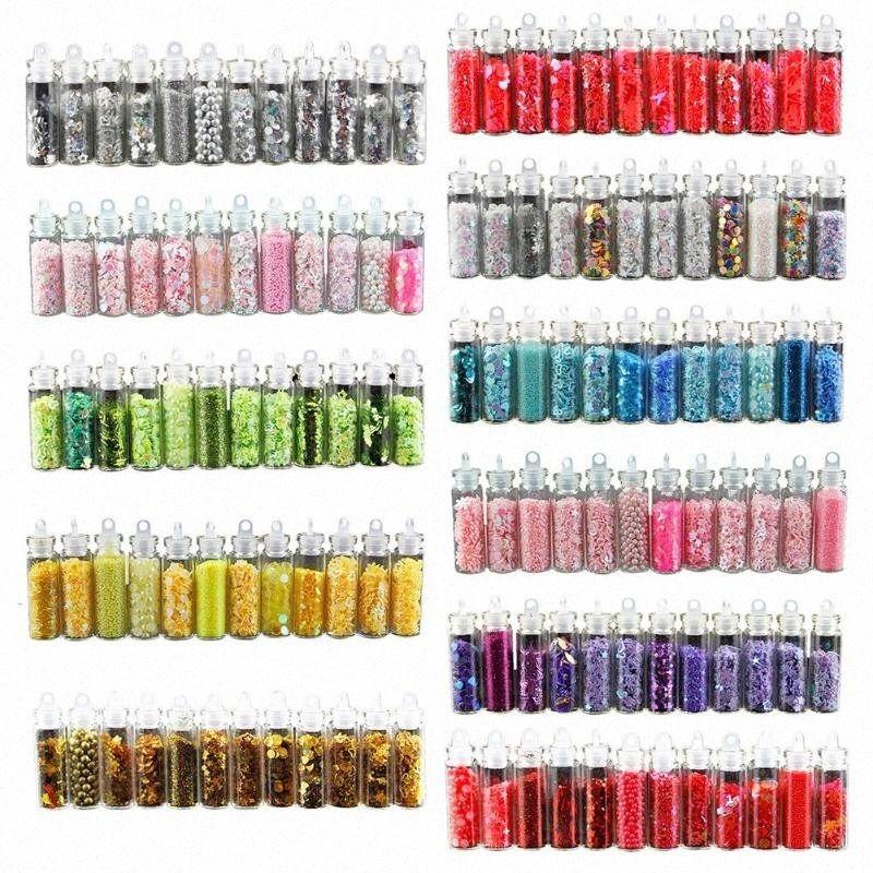 12 BottleNail Glitter Pó Acrílico Gel Polish Flakes prego Sequins DIY Handmade Colored Sequins Manicure Detalhes no Kn2X #
