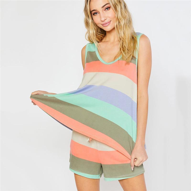 Спортивный костюм Тонкий костюм модельер полосатой пижаме наборы Люкс женщин Двухкусочный Наборы повседневные брюки