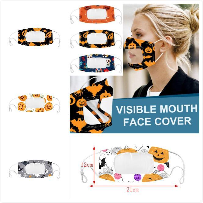 Halloween sordomuto maschera di protezione chiara Bocca Finestra antipolvere Maschera per maschere Sordi Lip Reading bocca con maschera regolabile per l'orecchio Loops partito