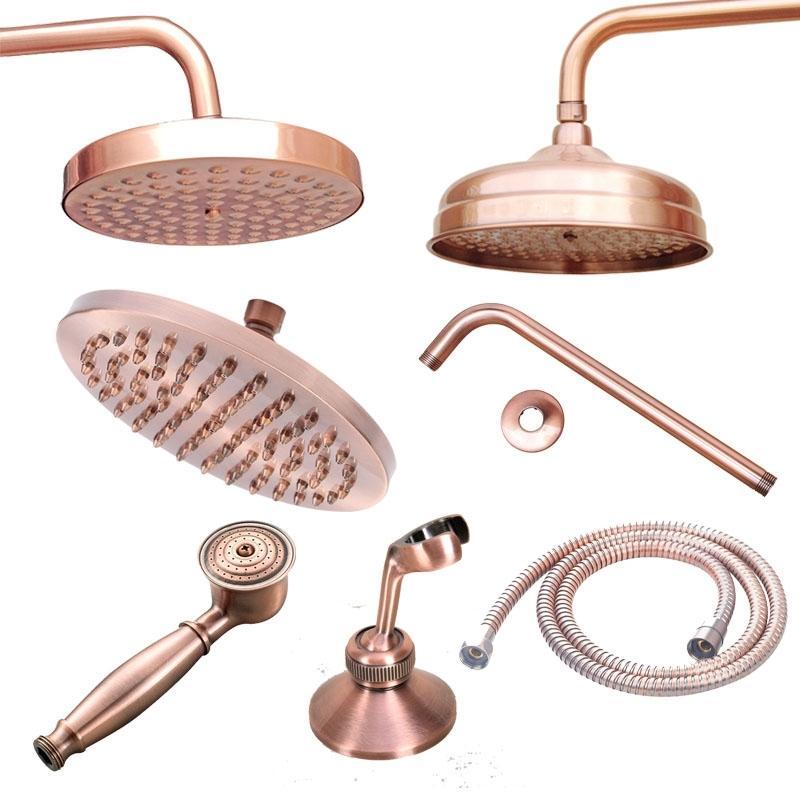 Antique Red Copper 8Inch Rodada Rainfall Arm salvar a água Hand Held cabeça de pulverização de 1,5 M Mangueira de chuveiro 200925