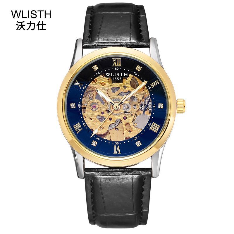 WLISTH Marca Hombres de acero inoxidable reloj esqueleto o cuero banda de reloj 30m impermeable luminosa puntero hombres de negocios Reloj de pulsera