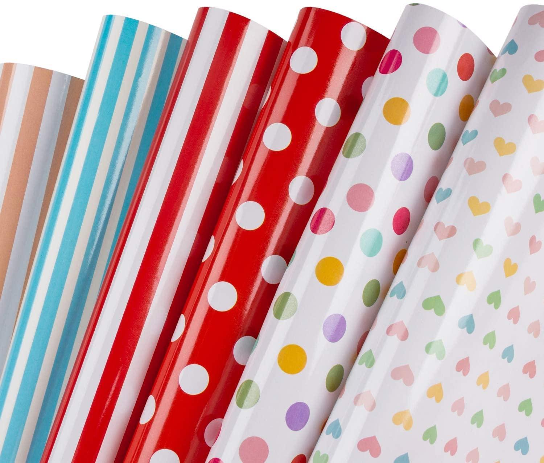 Листы оберточной бумаги для подарков - Dots, Herts, нашивки Красочные оберточной бумаги - 6 сложенных листов - 50см X70CM