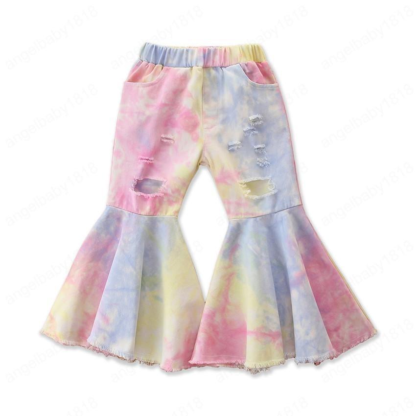 Fashion Toddler Girl Tie Dye Trouser Bell-bottom Christmas Kid Leopard Hole Ruffle Leggings Children's Denim Pants Legs Cloth 6T