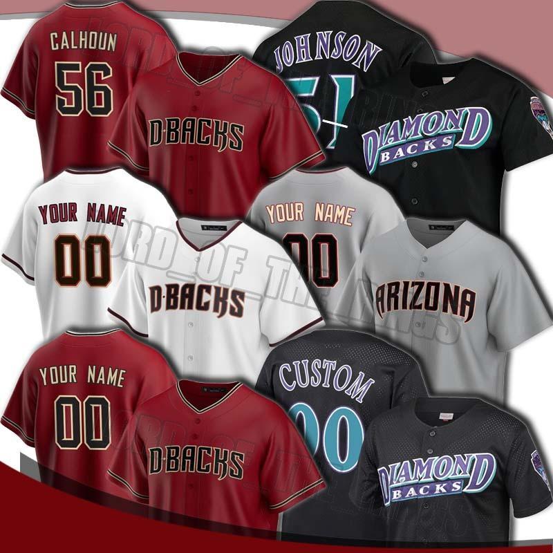 Diamondbacks personalizado 51 Randy Johnson Jersey 56 Kole Calhoun 40 Madison Bumgarner Jerseys 13 Nick Ahmed 53 Christian Walker Baseball