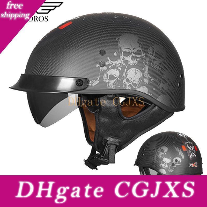 Vcoros G510 Metade fibra de carbono Fcae Motocycle Capacete Com destacável e Lens Inner Capacete De Motocicleta Man Casque Moto