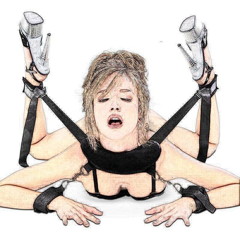 الأزواج المرأة حزام جلد صناعي دبوس مشبك معدني لحزام أصفاد الكاحل الكفات BDSM عبودية ضبط النفس الرقيق ولعب الجنس للمرأة