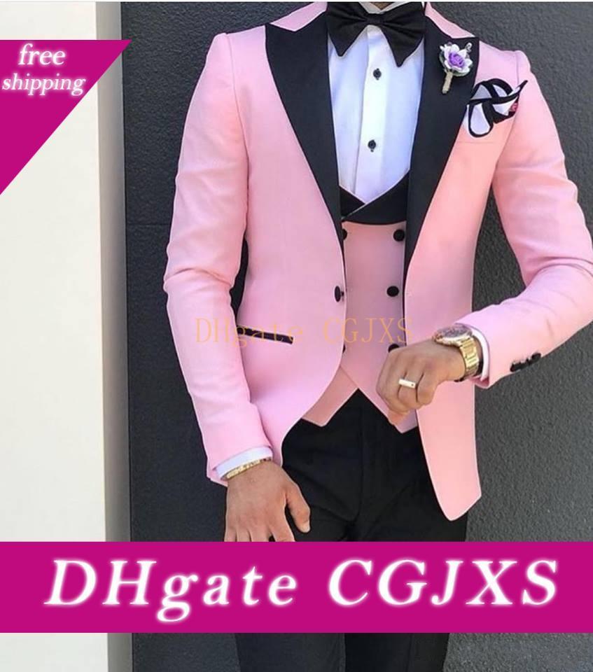 Пользовательского Дизайн One Button Pink Wedding Groom Tuxedos Пик нагрудного Groomsmen Mens ужин Blazer костюмы (куртка брюки жилет Tie) No: 1539