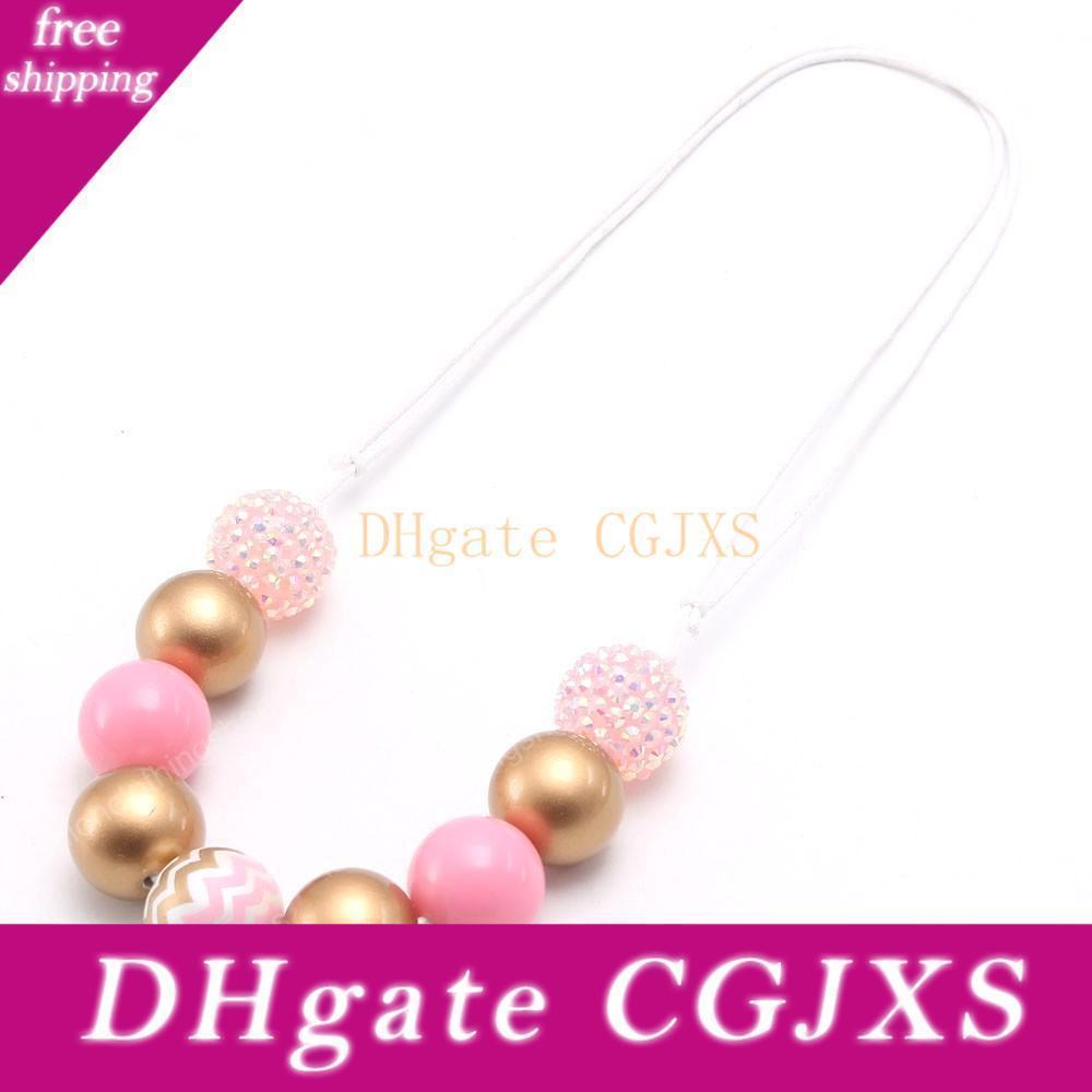 New angekommen Baby-Kind-Chunky Perlen Halskette Rosa Art-Mädchen Diy Bubblegum Halskette verstellbare Seil-Schmucksachen für Partei