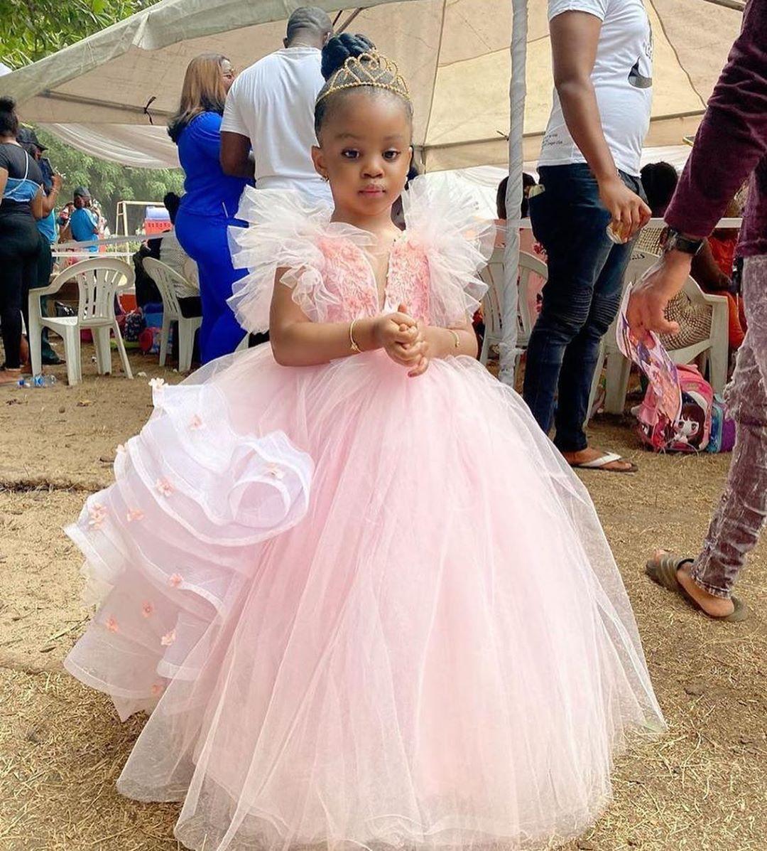 2020 Розовый цветок девочки платья с кружевом аппликация Тюль Туту юбка Длина пола Первая Cummunion платья сшитое