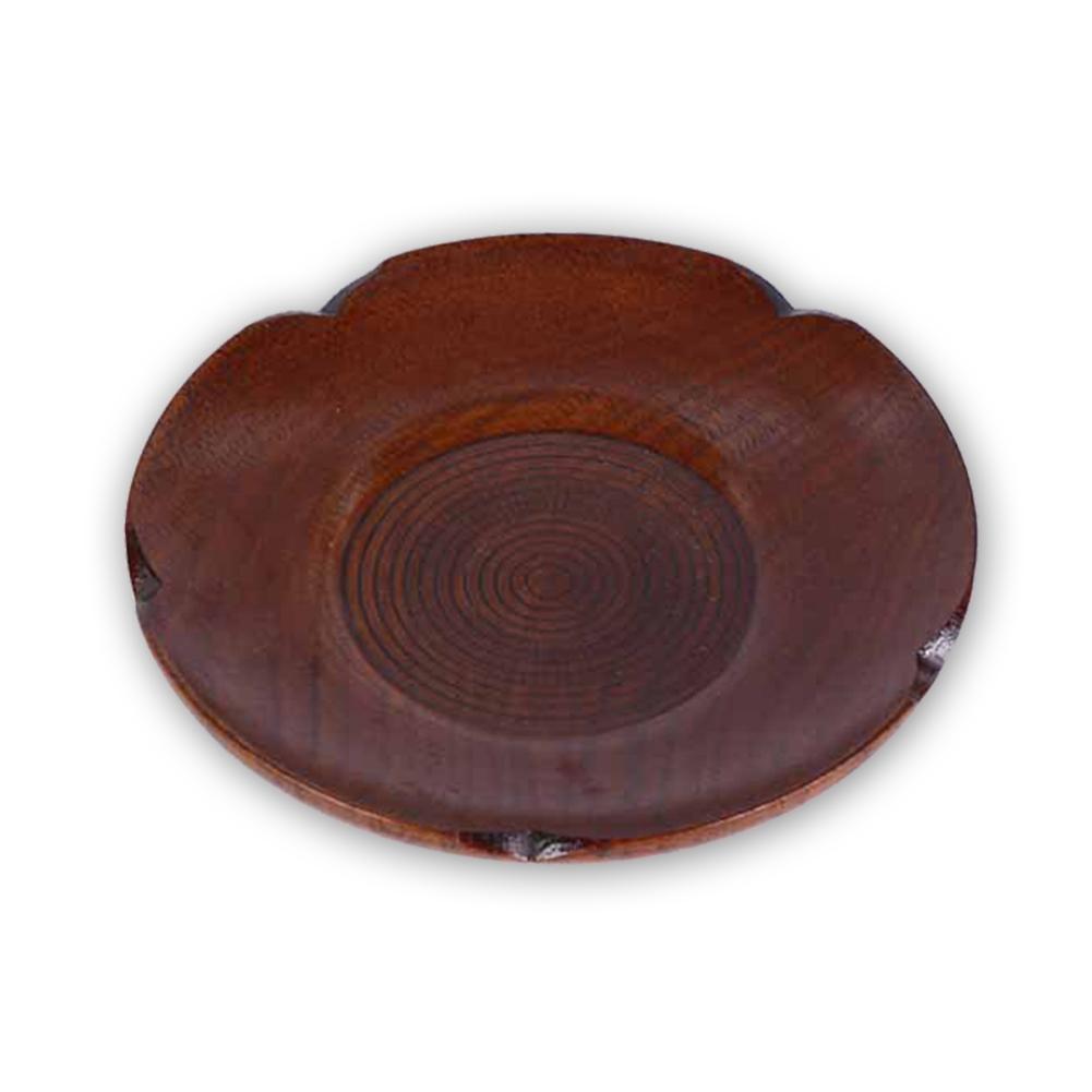 Los platos de la bandeja de madera del té Accesorios té rayas redondo Plato flor del ciruelo Edge