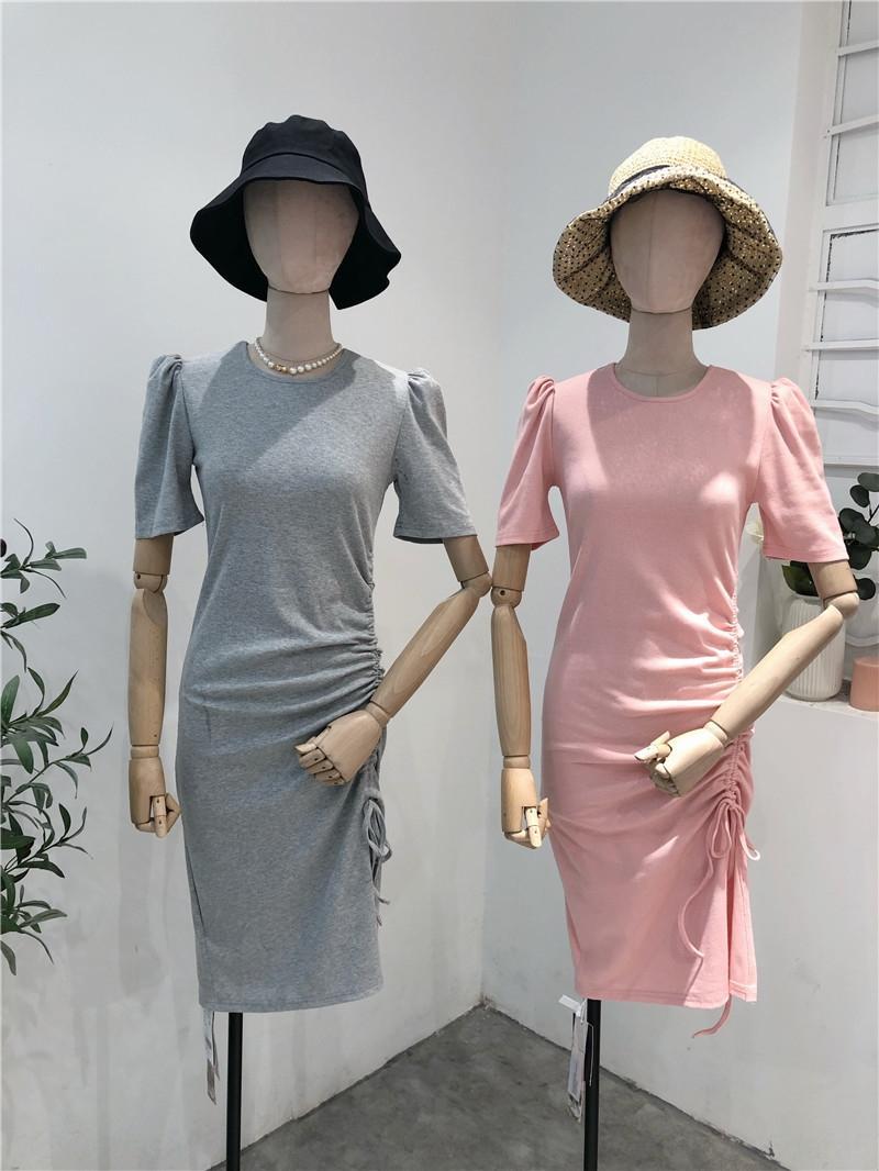 di pjbop estate delle donne 2020 vestito manicotto della bolla nuovo dolce e piccola macchina lato spaccato delle donne estate temperamento abito slim fit